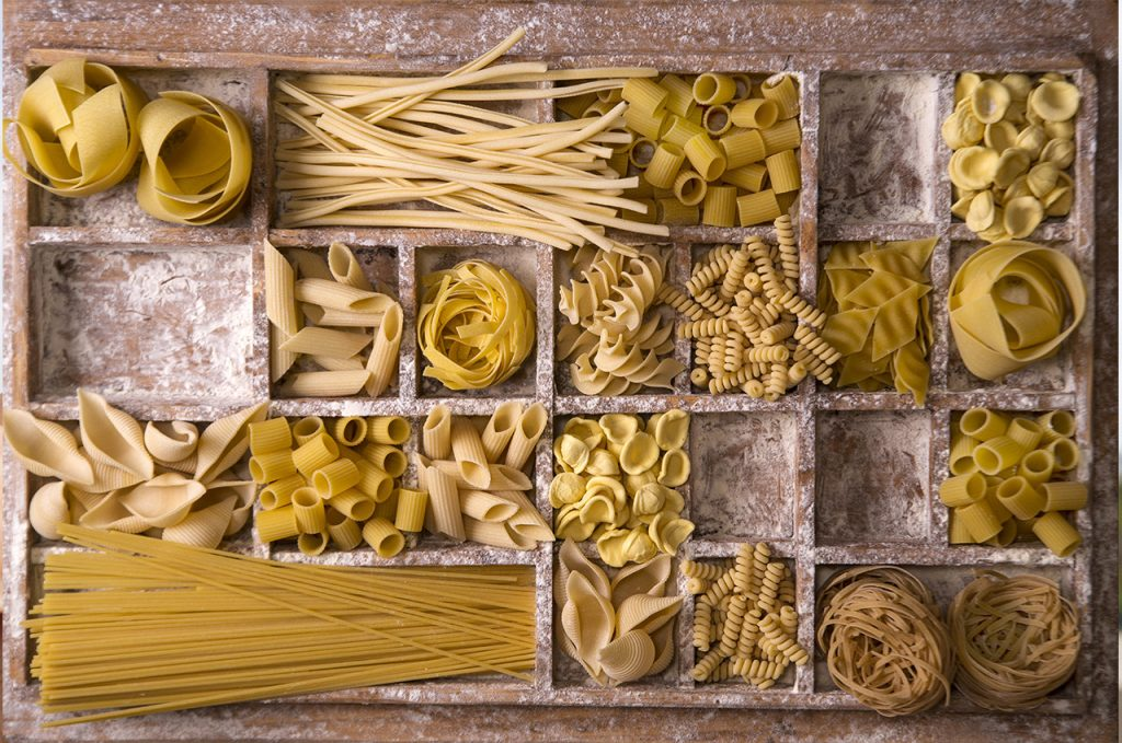 There are hundreds of types of handmade pasta; a few are shown here.